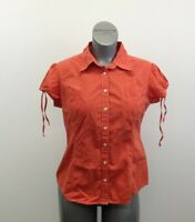 Tommy Hilfiger Button Up Shirt Women's Large Orange Short Puffed Tie Sleeves