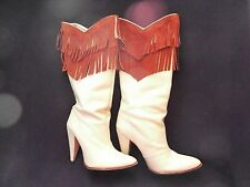 "Geronimo Fringe Boots - Size 6 Medium - Super Sexy 4"" High Heels"