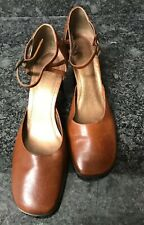 Enzo Angiolini Women's Size 9M Brown Leather Ankle Strap Pump EA Flexo Upper