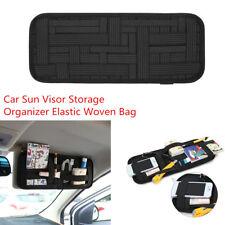 Car Sun Visor Anti-slip Elastic Woven Organizer Storage Sunglass Phone Card Bag