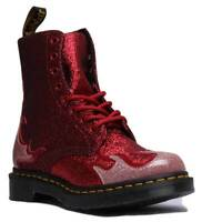 Dr Martens 1460 Pascal Flame Glitter Women Synthetic Red Ankle Boots UK Size 3 -