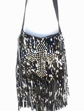 Raviani Western Leather & Hide Cross Body Handbag Purse Fringe Swarovski CR1