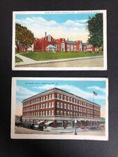 2 Vintage Postcards Kirksville Mo Evansville In Bosse High Travelers Hotel