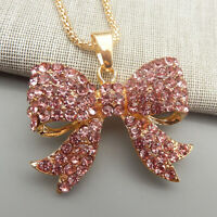 Betsey Johnson Pink Crystal Bowknot Pendant Long Sweater Necklace