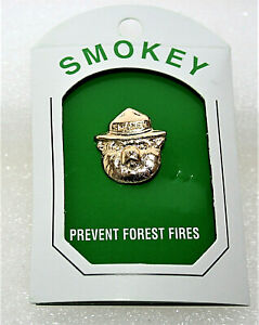 Classic Smokey The Bear Face In Ranger Hat Brass Lapel Pin Button NOS New 2000's