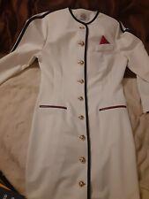 Leslie Fay Dress Size Sz 10 Vintage 1980's 80's White Navy Pink