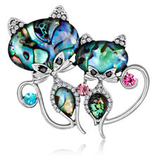 Silver Abalone Shell Crystal Brooch Pin Wedding Bridal Bouquet Animal Cat BrooUQ