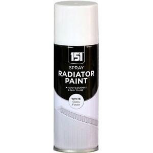 x1 Radiator Enamel White Gloss Paint Spray Aerosol 200ml DIY Metal Wood Etc. 151
