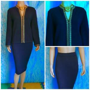 ST JOHN Evening Navy Blue Jacket Skirt L 12 14 2pc Suit Rhinestone Gold Sequins