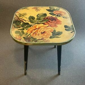 Vintage 1960s Mid Century Formica Wooden Side Table Floral Design, 60s, Retro