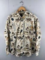 Natural Issue Men's Vintage Long Sleeve Hawaiian Fishing Shirt Size XL Brown