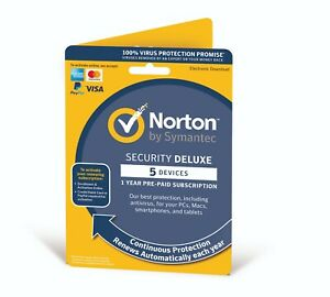 Norton Security Deluxe 2021 (5 Devices/1 Year) Internet Antivirus PC/Mac Emailed