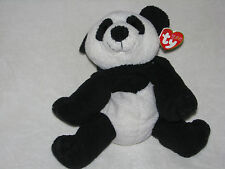 2006 TY PLUFFIES PLUFFY MUNCHES BLACK & WHITE PANDA TEDDY BEAR PLUSH BEANIE BABY