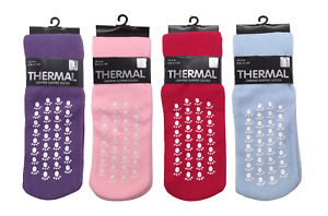LADIES WOMENS THERMAL GRIPPER SLIPPER SOCKS LOUNGE WEAR WINTER WARMTH SIZE 4 - 6