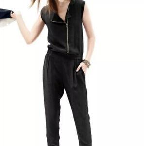 NWT $129 J Crew Jumpsuit Asymmetrical Zip Front Black Pleated Pant 10 Sleeveless