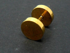 A SINGLE STAINLESS STEEL GOLD FAKE PLUG MANS MENS BARBELL EARRING. 8MM.NEW.