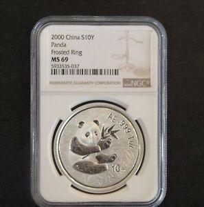 2000 China Panda 10 Yuan Frosted Ring NGC MS69 Silver