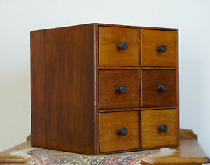 Antique Vintage Tabletop Bank of Drawers - Well Made Apothecary Drawers  34 x 31