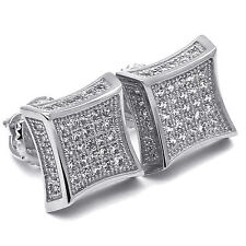 Mens White Gold Plated Cz Micro Pave Kite Side Stone Iced Out HipHop Earring 9mm