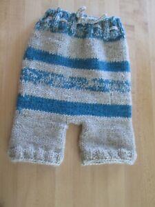 "Baby Diaper Cover Wool Soaker Heavy Knit Prewashed Lanolized Oatmeal Blue 22"""