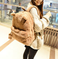 Fluffy Fur Plush Bear backpack Shoulder Bag Teenage Girl School Bag