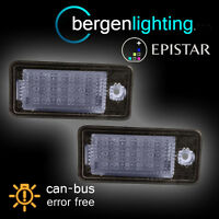 FOR AUDI A3 A4 A6 A8 S3 S4 S6 S8 XENON 6500K 18 LED NUMBER PLATE LIGHT LAMP PAIR