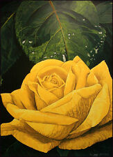 G H Rothe YELLOW ROSE flower rose serigraph art on paper Hand Signed L@@K