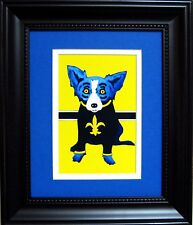 "GEORGE RODRIGUE BLUE DOG Saints POSTCARD  - MATTED and FRAMED - 11"" x 13"""