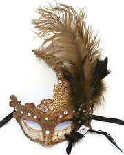 Feather Venetian Masquerade Costume Ball Prom Party Wedding Ivory Gold Lace Mask