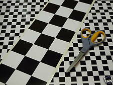 "Chequered Tape Checkered Check 48"" x 6"" 1220 x150mm Race Racing Car Bike Sticker"