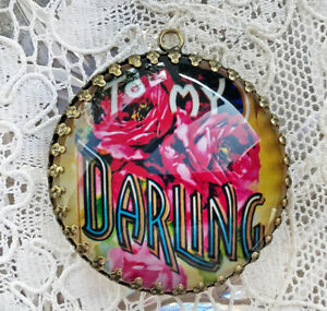TO MY DARLING ~ XL ROUND 35mm PENDANT Filigree VICTORIAN FLORAL Love SWEETHEART