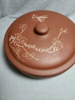 Vintage Chinese Terracotta Unglazed Red Clay Pot  Hand Etched & Signed