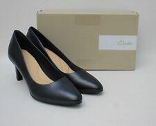 CLARKS Ladies Black Leather Calla Rose Slim Heel Court Shoes EU39.5 UK6 BNIB