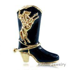 Fashion UNISEX Black SHOE COWBOY BOOT Gold Fashion XMAS BROOCH PINS JEWELRY