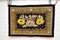 Antique Vintage Burmese Kalaga Tapestry Wall Hanging 32x22 Textile Fabric beaded
