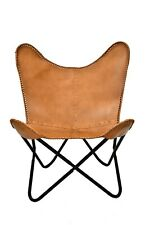 Texas Brown Butterfly Chair Iron Stand and Leather Cover Indoor Outdoor Chair