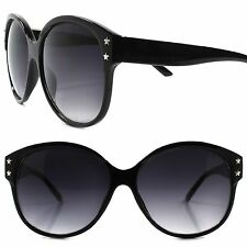 Star Studded Vintage Retro Fashion Classic 80s Round Oversized Black Sunglasses