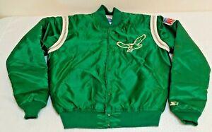 Vintage 1980s STARTER Satin Jacket Coat NFL PHILADELPHIA EAGLES L Kelly Green