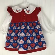 Vintage Cradle Togs Baby Dress Red Embroidered Corduroy 24 Months Hearts Blue