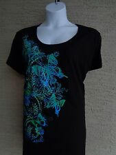 Just My Size Graphic Scoop Neck Tee Shirt Black with Glitzy Flowers 1X