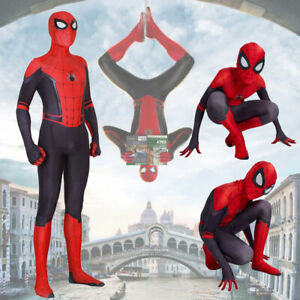 Kids Adult Spider-Man Far From Home Spiderman Zentai Cosplay Costume Suit Red UK