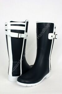 Hunter Boots Refined Slim Fit Contrast Short Rain Boots Navy White Women Size 8