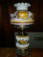 VTG 1967 GIM 3083 Hurricane Table 3-Way Hand Painted Floral Design! Ht. 22 in.