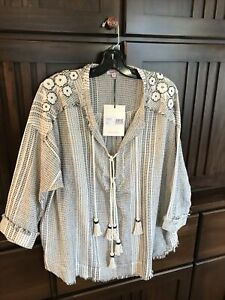 Johnny Was Jacque Black/Natural White Cotton Gauze LaceUp Top Tassels M NWT $168