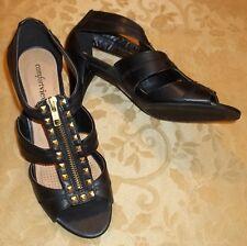 Womens COMFORTVIEW~BLACK STUDS SANDALS~sz 7 WIDE WIDE 7WW~NEW Shoes~Extra~Heels