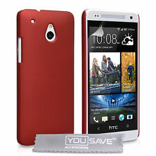 HTC One Mini M7 Shock Proof Hard Plastic Red Hybrid Phone Case + Screen Guard