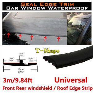 T-Type Seal Strip Trim Rubber Weatherstrip For Car Front Rear Windshield Sunroof