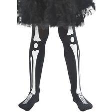 BIANCO nero Ossa Scheletro Collant Bambine Bambini Halloween Costume accesso