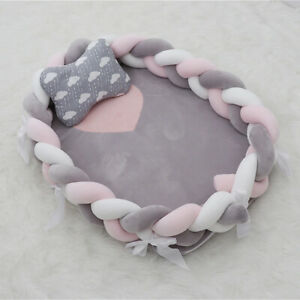 Super Soft Knot Ball Pillow Crib Bumper Bed Cot Braid Fence Protector new UK