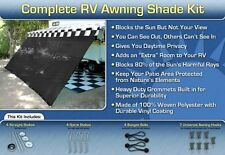 RV Awning Shade Kit Black Motorhome Awning Screen Trailer Kit 10x20